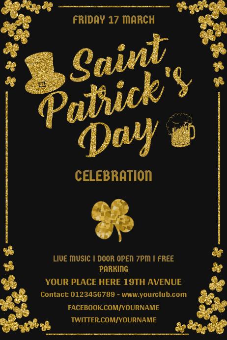 Black Saint Patrick's Party Poster template