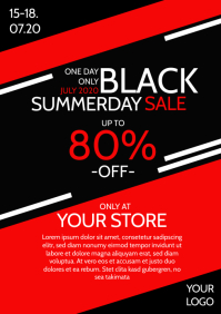 Black Sale Summer Season Red Flyer Poster Ad