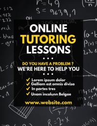 black square online tutoring lessons design t Flyer (US Letter) template