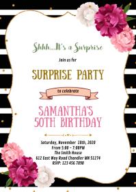 Black stripe floral party theme invitation A6 template