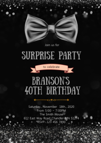 Black tie birthday party invitation A6 template