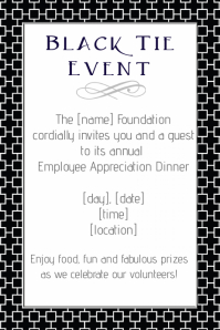 Black Tie Event Flyer Party Invitation Fundraiser Business