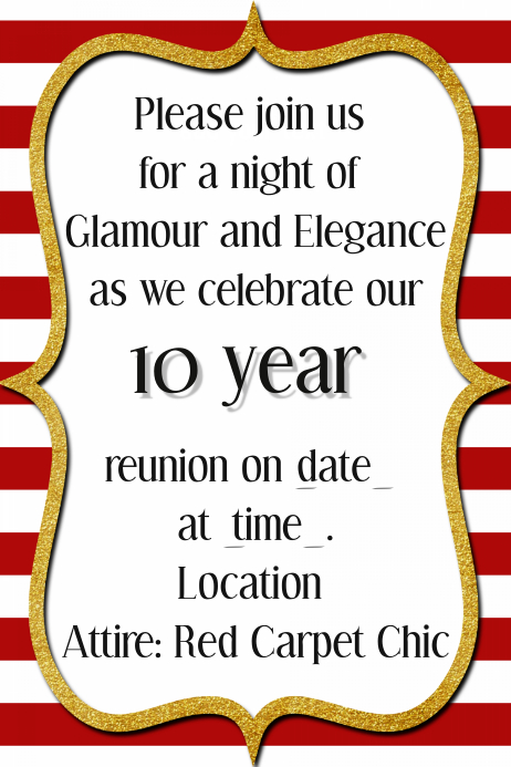 Black Tie Event Template Reunion Dance Dinner Party Invite