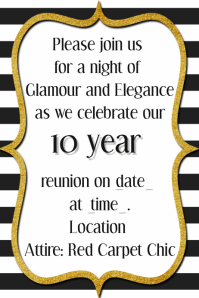 Black Tie Formal Class Reunion Gold Invitation Announcement