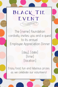 Black tie Formal Event dinner employee appreciation Gala Poster template