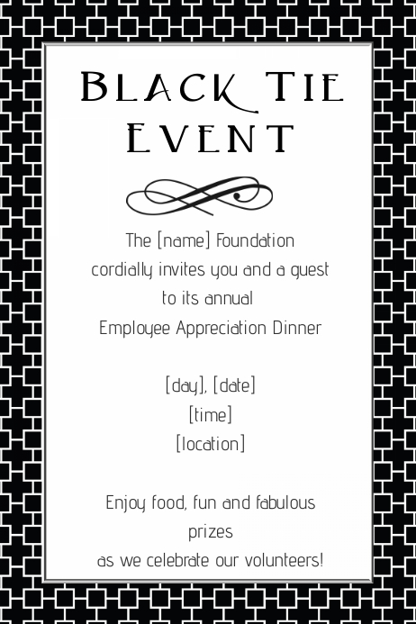 Black Tie Fundraiser Event Flyer Invitation Dinner Template  Invitation Format For An Event