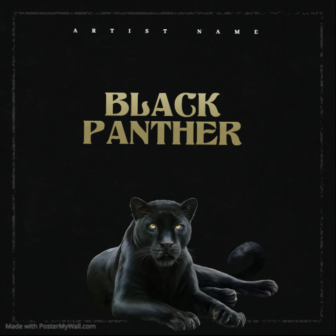 BLACK PANTHER mixtape cover art design template Album Omslag