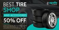 Black tire shop Facebook post delt Facebook-billede template