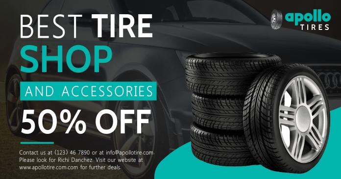 Black tire shop Facebook post template