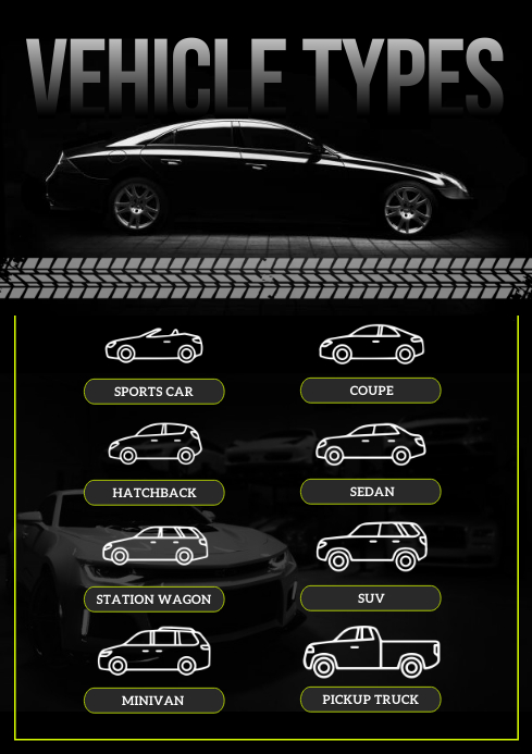 Black Types of Vehicles Concept Map A4 template