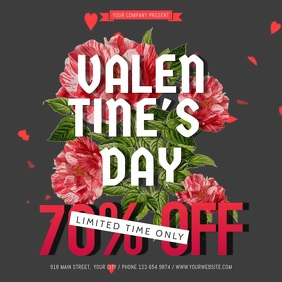 Black Valentine Day Sale Square Video Cuadrado (1:1) template