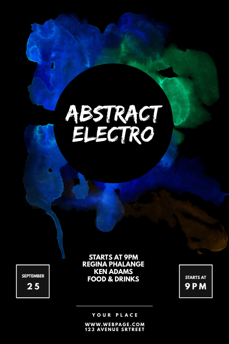 black watercolor club party flyer template