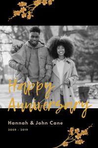 Black Wedding Anniversary Poster template
