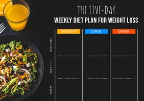 Black Weekly Diet Planner