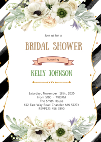 Black White and Gold bridal shower