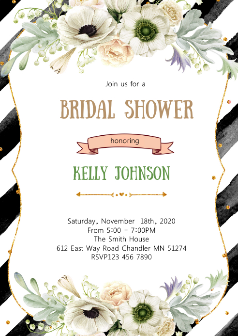 Black White and Gold bridal shower A6 template