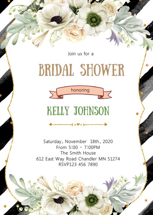 Black White and Gold bridal shower