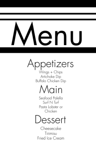 Black White Wedding Menu Halfbladsy Breed template