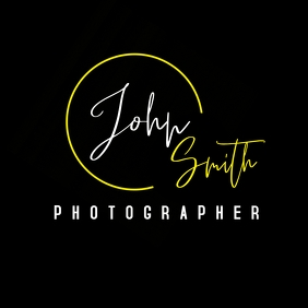 Black white yellow signature logo template