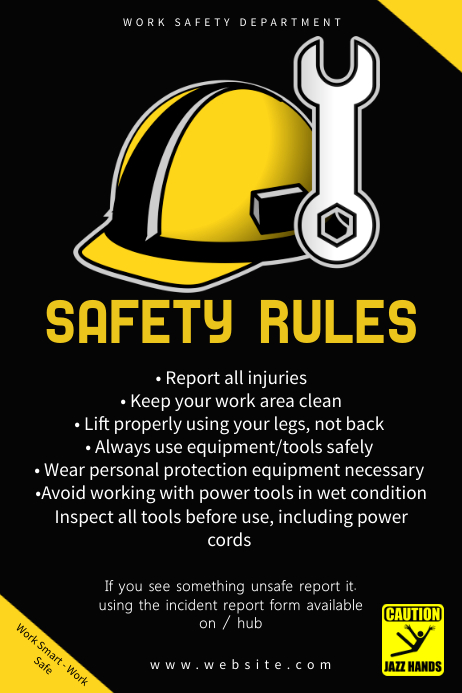black work safety rules poster template postermywall