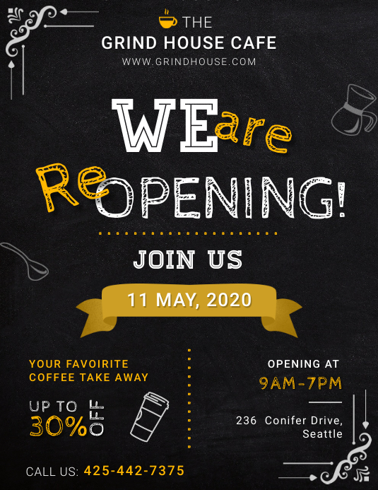 Blackboard style Re-Opening poster template