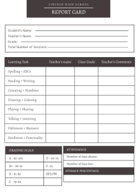 Blank Black and White Report Card A4 template