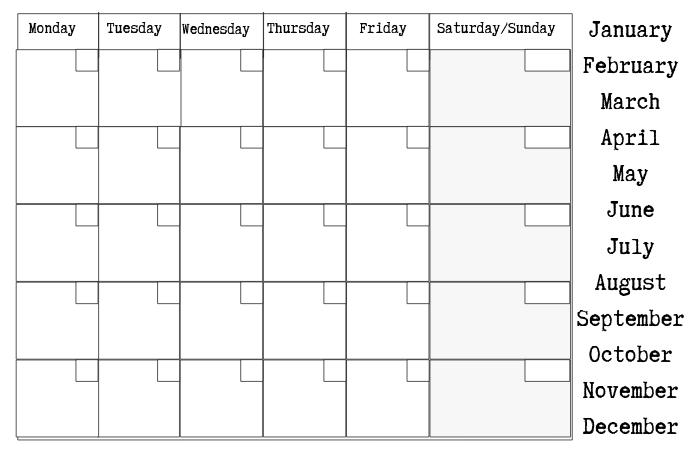 copy of blank calendar