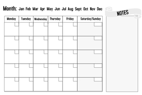 Blank reusable calendar with notes