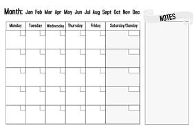 Blank reusable calendar with notes