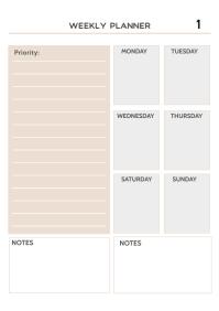 Blank Weekly Planner Template
