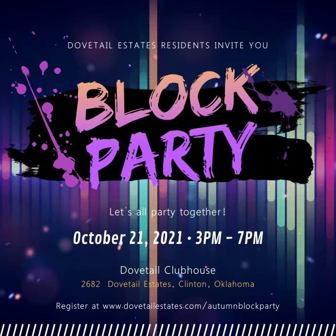 Block Party Neon Invitation Video Square (1:1) template