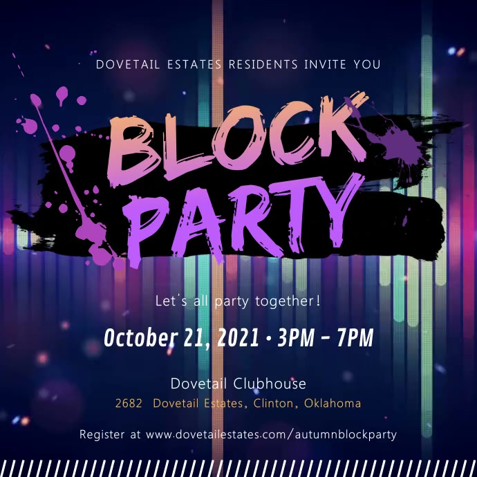 Block Party Neon Invitation Video Quadrat (1:1) template