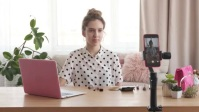blogger recording new video on smartphone YouTube Thumbnail template