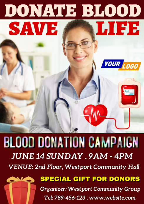 Blood donation campaign A4 template