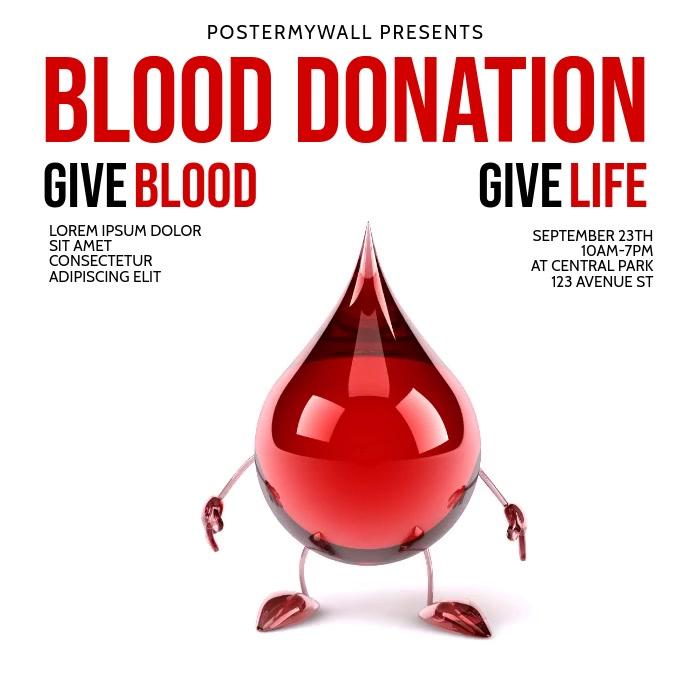 Blood Donation Drive Instagram Post template Quadrat (1:1)