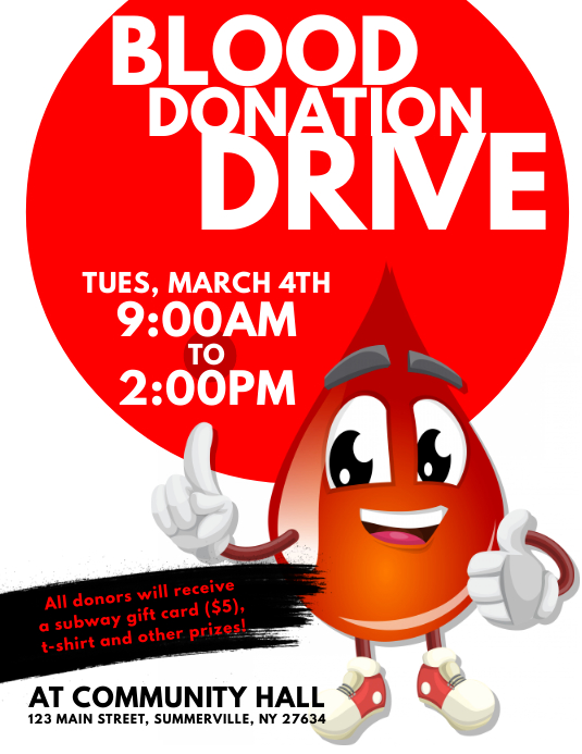 blood donation drive flyer template postermywall