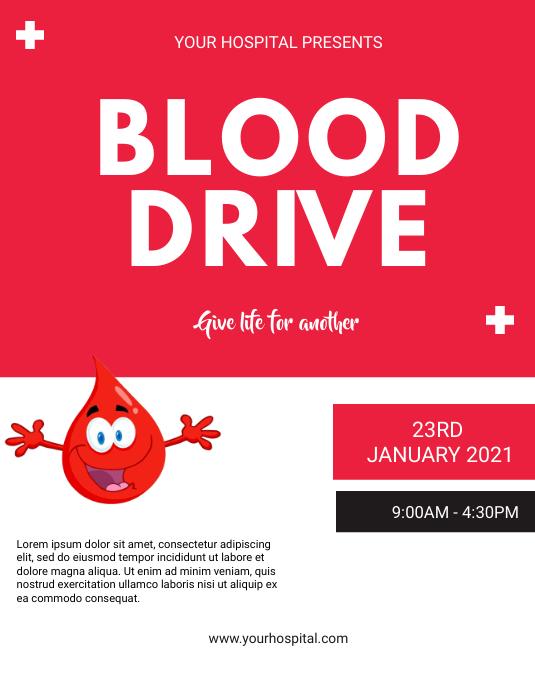 blood donation flyer Folheto (US Letter) template