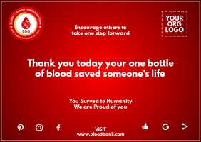 Blood Donation Greeting Card Template Cartolina