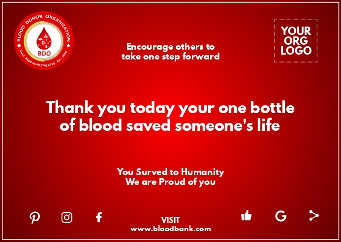 Blood Donation Greeting Card Template Postcard
