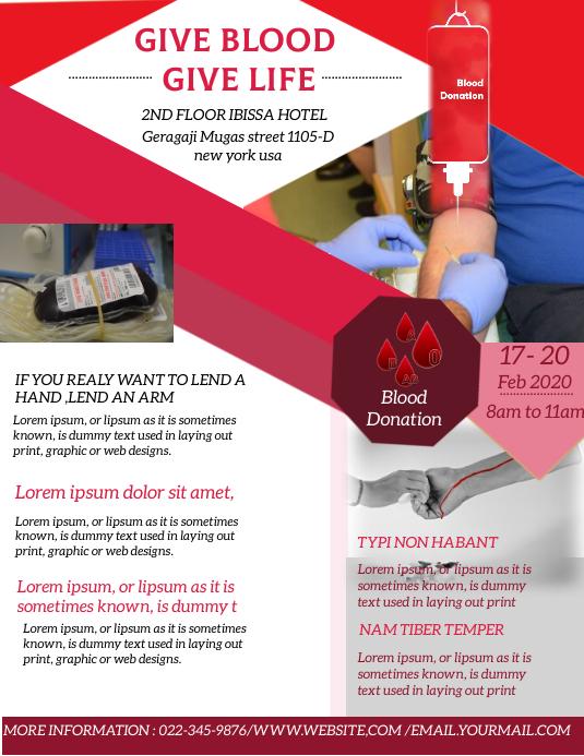 Blood Donation Template Folheto (US Letter)