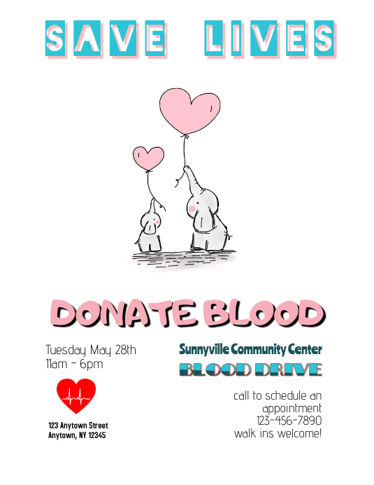 Blood Drive Blood Donation flyer Template