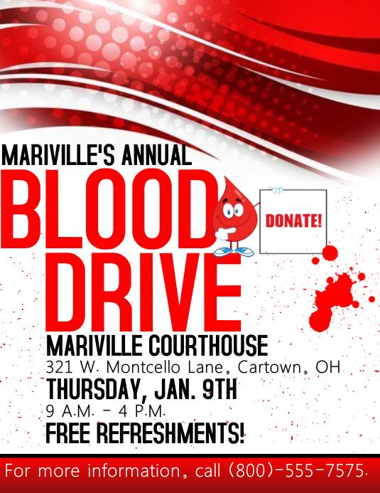 Blood Drive Flyer Template Folheto (US Letter)