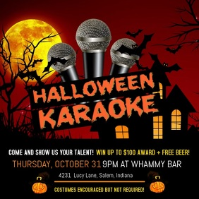 Blood Red Halloween Karaoke Invitation