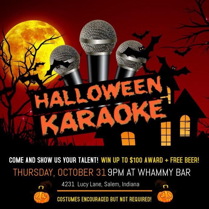 Blood Red Halloween Karaoke Invitation สี่เหลี่ยมจัตุรัส (1:1) template