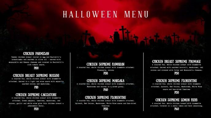 Blood Red Halloween Menu Digital Display Video template