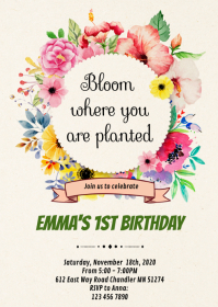 Bloom where you are planted party invitation A6 template