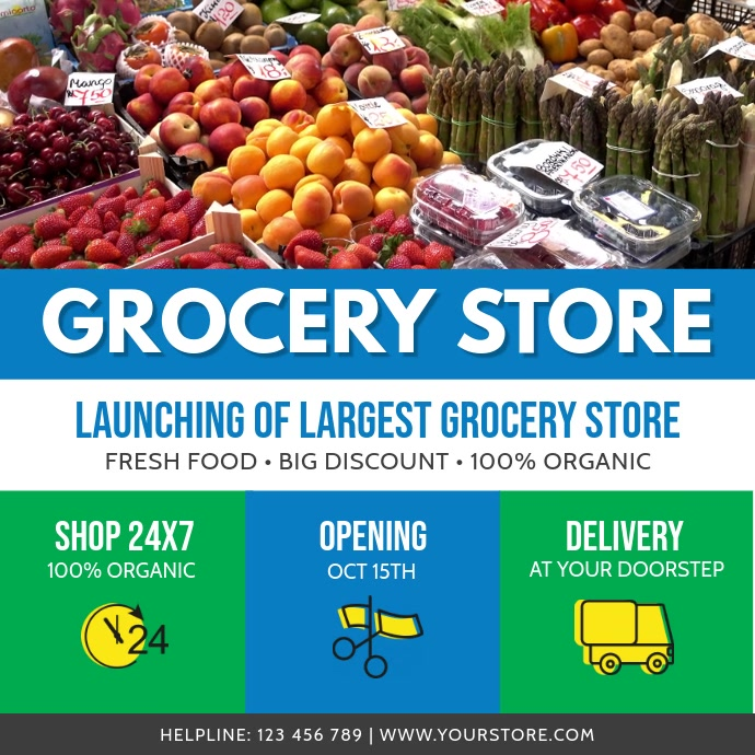 Blue, White and Green Grocery Story Ad Square