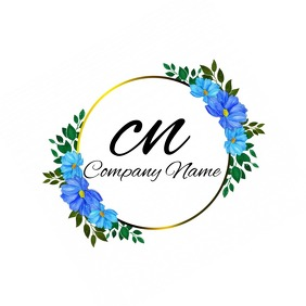 Blue & Gold Flower Logo template