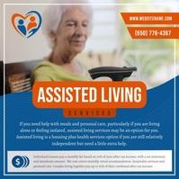 Blue & Orange Assisted Living Instagram Video Quadrat (1:1) template