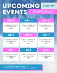 Blue & Pink Upcoming Event Schedule Flyer 传单(美国信函) template